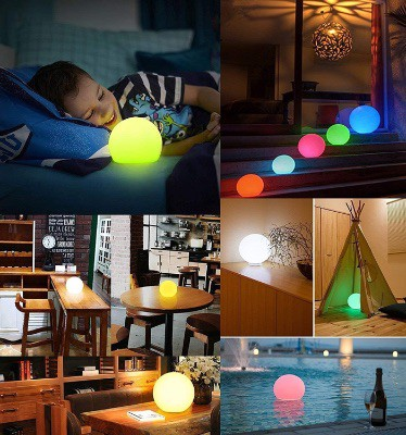 LOFTEK LED Vibrant 6-inch Light Ball- Night Light with Press Control and Remote, 16 RGB Color