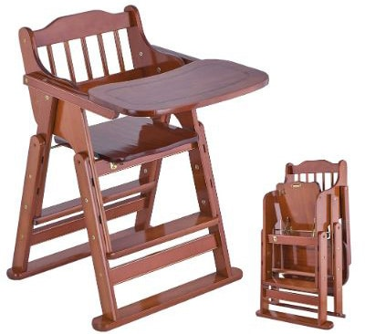 Foldable & Adjustable Wooden High Chair