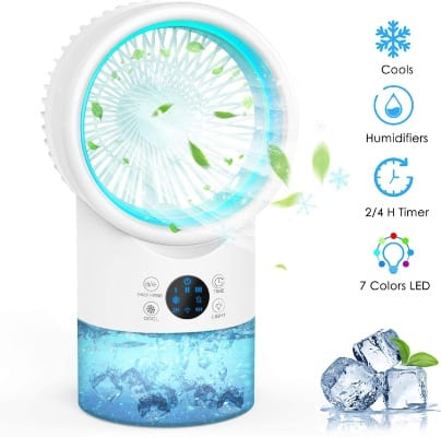 AMEIKO Portable Personal Air Conditioner Fan, Air Cooler Mini Evaporative Cooler, 7 Colors Light, 3 Speeds