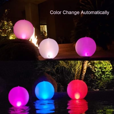 Esuper Swimming Pool Floating Inflatable Solar Powered LED lights, 1 PCS, 14 Inch IP68 Waterproof