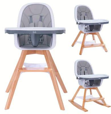 4-In-1 Wooden High Chair With Adjustable Legs