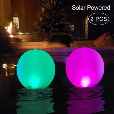 "Floating Inflatable Pool Lights Waterproof IP68, 14"" Solar Outdoor Pool Lamp 2-Piece 4 Color Changing LED"