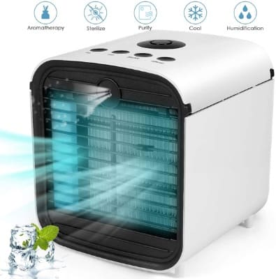 Personal Air Conditioner, 5 in 1 Evaporative Air Cooler, Cooling Fan 3 Speeds 7 LED Light