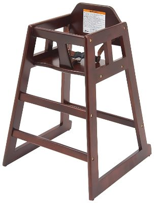 Mahogany Wooden High Chair With Safety Belt