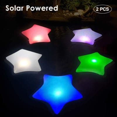 Cootway Floating Pool Lights, Solar Lights, Inflatable Star Night Light, 2-Piece, 17'' Bright LED Auto Color Changing