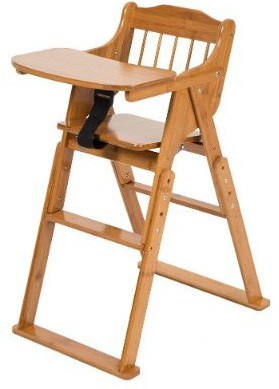 Foldable Wooden High Chair With Adjustable Height