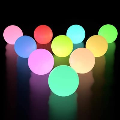 LOFTEK RGB Color, Floating Pool Lights, LED IP67 Waterproof, Pool Lights for Indoor:Outdoor 10-Pack