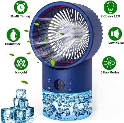 Portable Air Conditioner Fan, 3-Speed Personal Air Cooler, 7 Colors Light, Timing, for Room, Home, (Dark Blue)