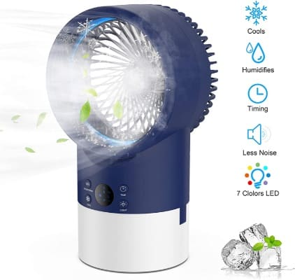 EEIEER Portable Air Conditioner Mist Humidifier Fan, Cool 4 in 1 Quiet Circulation Timing Night Light
