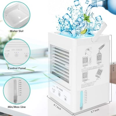Evaporative Air Cooler Personal Air Conditioner Battery Operated Unit for Room Outdoor Office Table